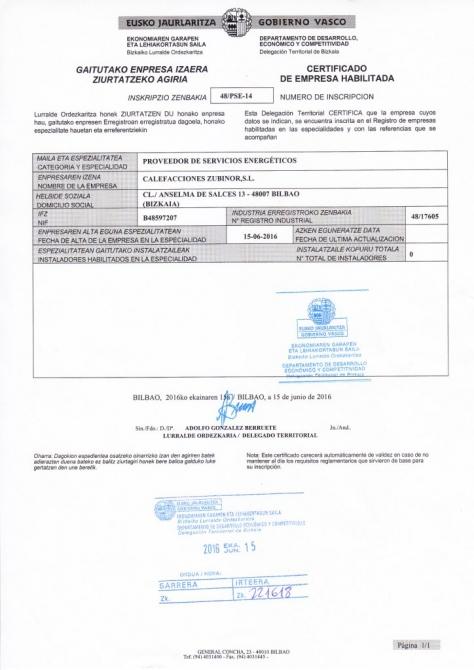 Certificado de empresa habilitada